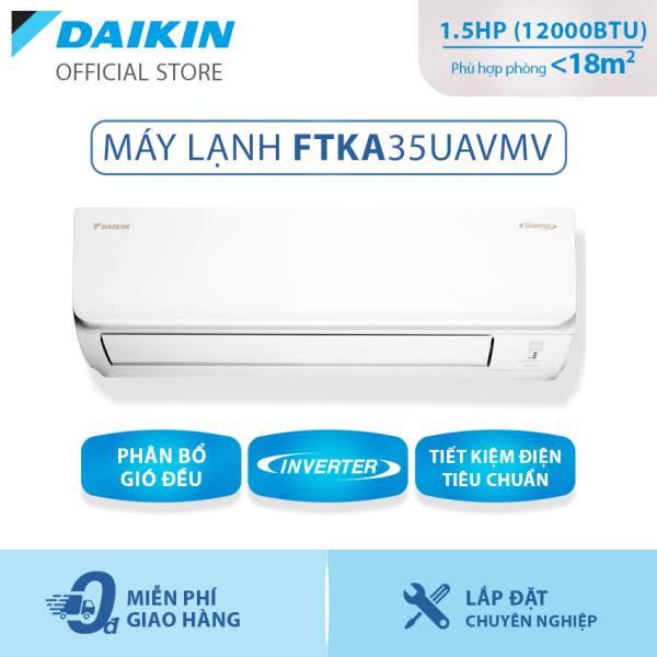 Bảng giá Máy Lạnh Daikin Inverter Tiêu chuẩn FTKA35UAVMV 1.5HP (12000BTU) - Tiết kiệm điện - Luồng gió Coanda - Độ bền cao - Chống Ăn mòn - Chống ẩm mốc - Làm lạnh nhanh - Hàng chính hãng
