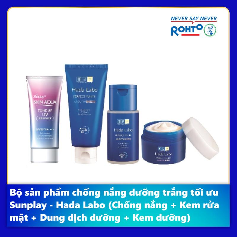Bộ sản phẩm chống nắng dưỡng trắng tối ưu Sunplay - Hada Labo (Chống nắng + Kem rửa mặt + Dung dịch dưỡng + Kem dưỡng) giá rẻ