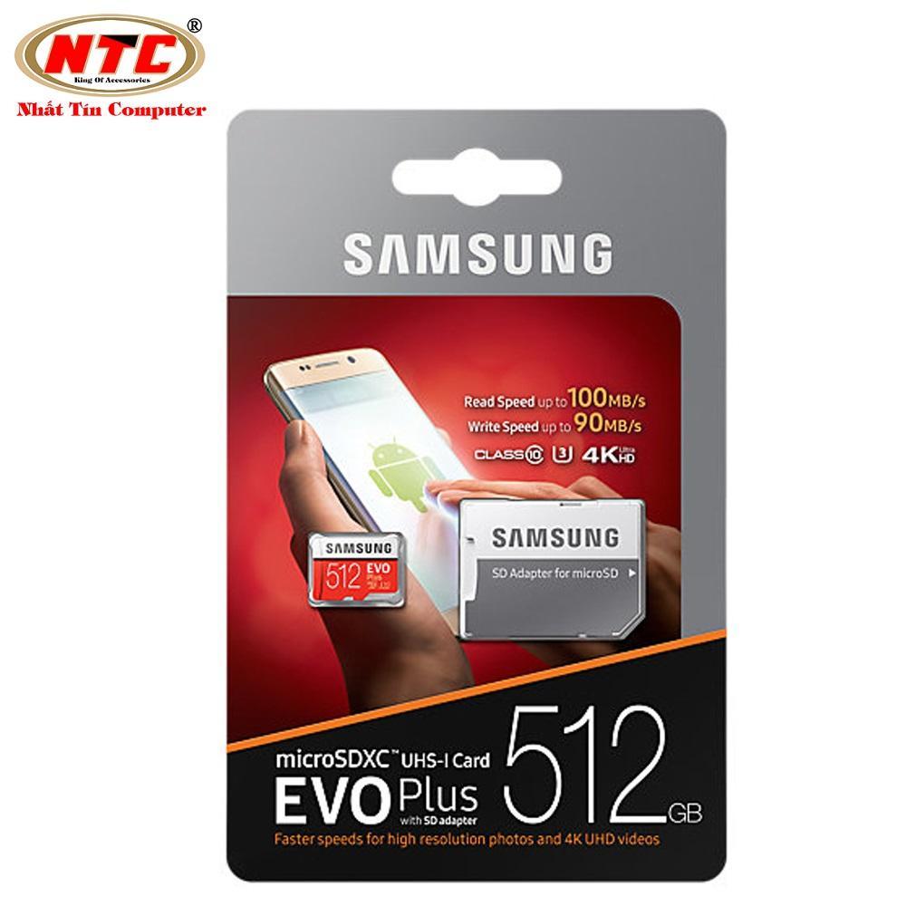 Thẻ nhớ MicroSDXC Samsung Evo Plus 512GB U3 4K 100MB/s - box Anh kèm Adapter (Đỏ)
