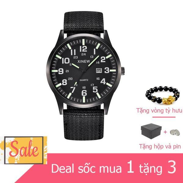 Đồng hồ nam thời trang chống nước Xinew có lịch ngày phong cách mạnh mẽ Tặng vòng Tỳ Hưu
