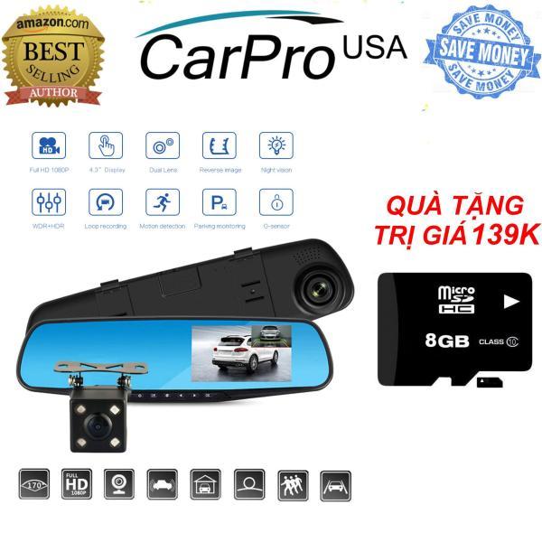 TẶNG Thẻ 16Gb Trị Giá 139K - Camera hành trình gương chiếu hậu (4.3inch), Kèm camera lùi Vehicle BlackBox fullHD 1080 - Camera hành trình ô tô, xe hơi, xe tải dạng gương chiếu hậu màn hình cảm ứng chạm full HD 1080P tích hợp camera sau lùi xe