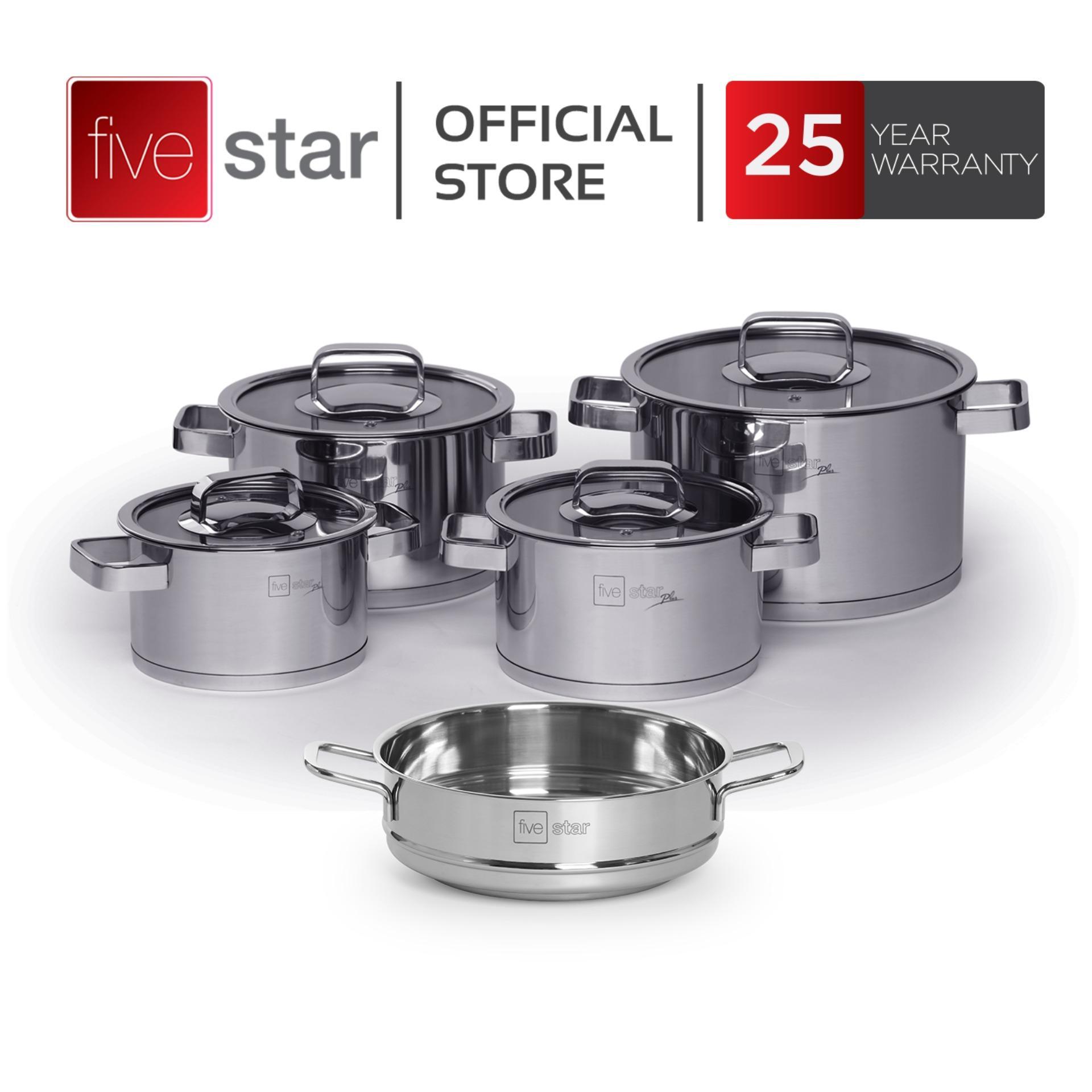 Bộ nồi xửng 3 đáy inox 304 FiveStar Plus FS08CG-304  bếp từ  nắp KÍNH  ( 1 nồi 16cm x 1 nồi 18cm x 1 nồi 20cm x 1 nồi 24cm x 1 thân xửng 24)cm )