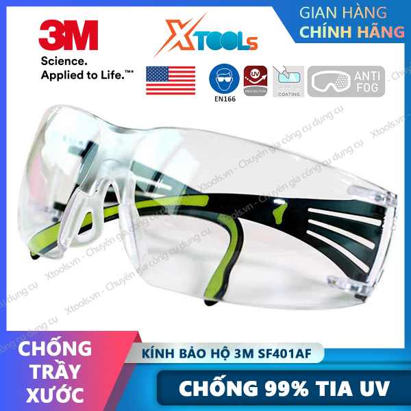 Giá bán Kính bảo hộ 3M SF401AF kính chống bụi chống tia UV chống đọng sương chống trầy xước (màu trắng) [XTOOLs][XSAFE]