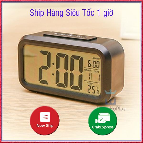 Đồng hồ để bàn báo thức điện tử mà hình LCD hiển thị cùng lúc giờ, phút, ngày, tháng, chuông báo C1019 số to, xem giờ ban đêm dễ dàng, bảo hành 12 tháng