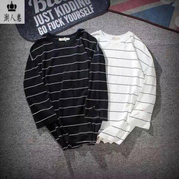 Combo 2 áo thun nam form rộng tay lỡ kẻ ngang ( loại kẻ to ) AKT01 ( đen/ trắng )