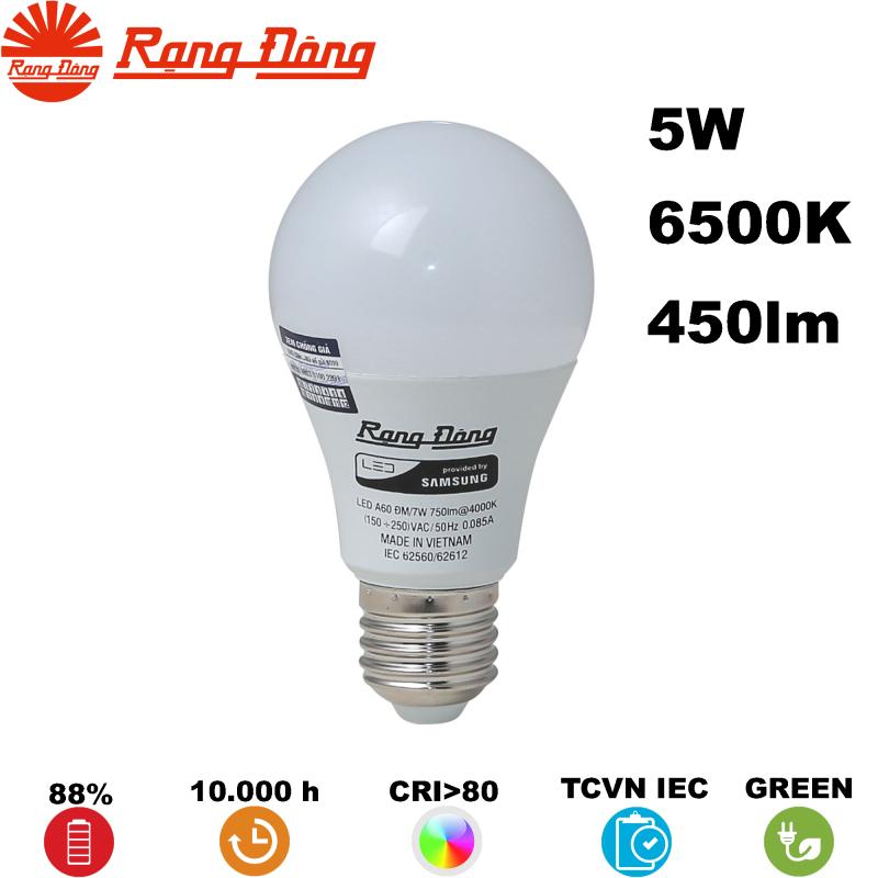Bóng đèn LED BULB Tròn Rạng Đông A55N4 5W 450lm 220V 6500K (Trắng)