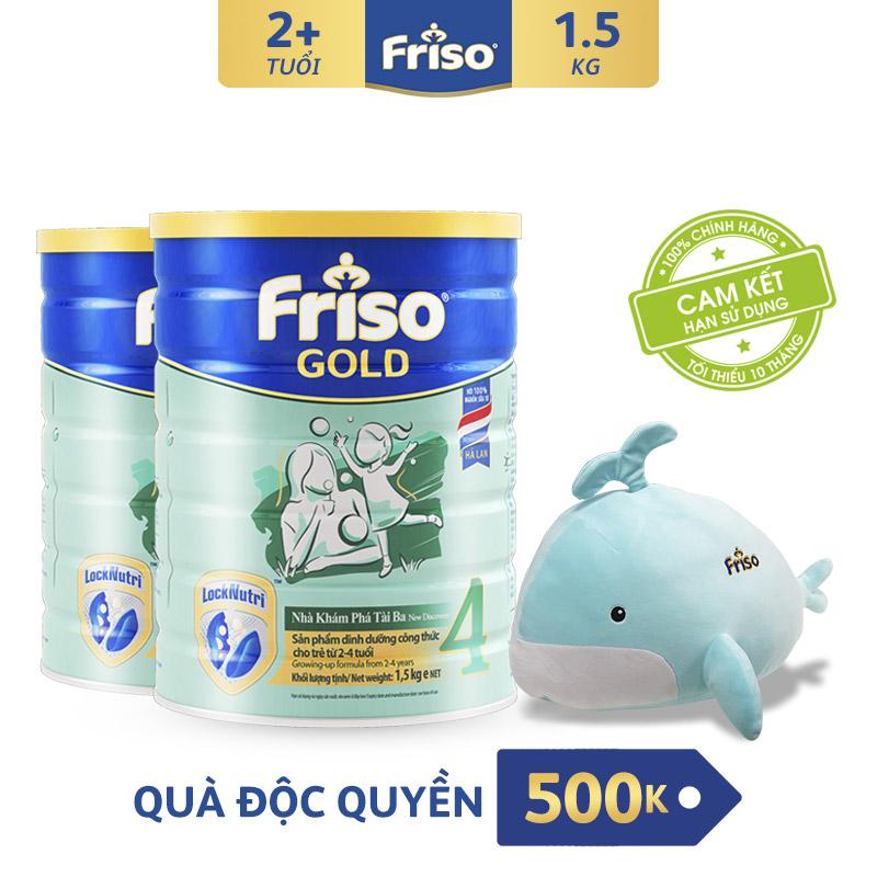 [Freeship Toàn Quốc] Bộ 2 Lon Sữa Bột Friso Gold 4 1.5kg + Tặng Bộ Mền Gối ôm Cá Heo Trị Giá 500K Giá Giảm