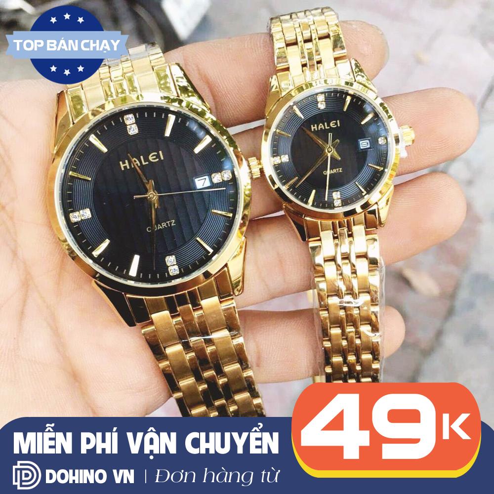 Đồng hồ cặp đôi nam nữ chống nước cao cấp dây thép đúc màu vàng Halei H170 máy thạch anh chạy 3 kim bảo hành 6 tháng