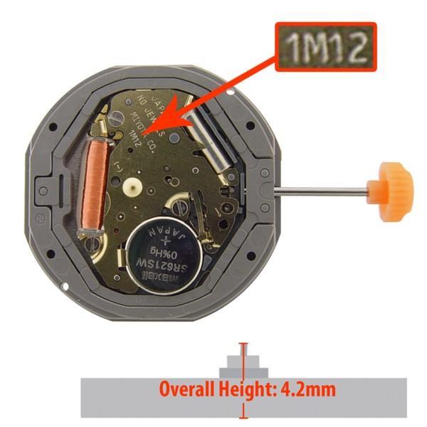 Máy đồng hồ Miyota 1M12 3kim lịch số ba bán chạy