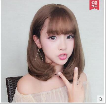 [TẶNG KÈM LƯỚI] Tóc giả nữ nguyên đầu sợi tơ Hàn Quốc CÓ DA ĐẦU - TG1577 ( NÂU TỐI - trong hình là nâu sáng )