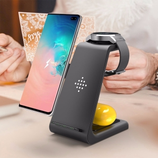 3 In 1 Wireless Fast Charger+Apple Watch+Bluetooth Earphone For IPhone XR XS Max Android Samsung Phone thumbnail