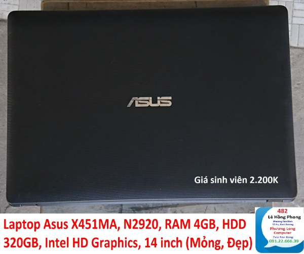 Bảng giá Laptop Asus X451MA, N2920, RAM 4GB, HDD 320GB, Intel HD Graphics, 14 inch (Mỏng, Đẹp) Phong Vũ