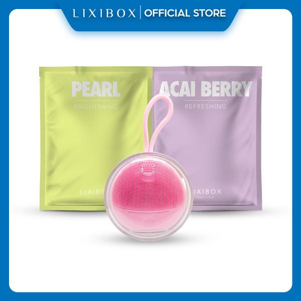 Máy Rửa Mặt Và Massage Da Mặt Cho Da Nhạy Cảm Halio Sensitive - Baby Pink ,Tặng 2 Mặt Nạ Lixibox Green Tea và Acai Berry