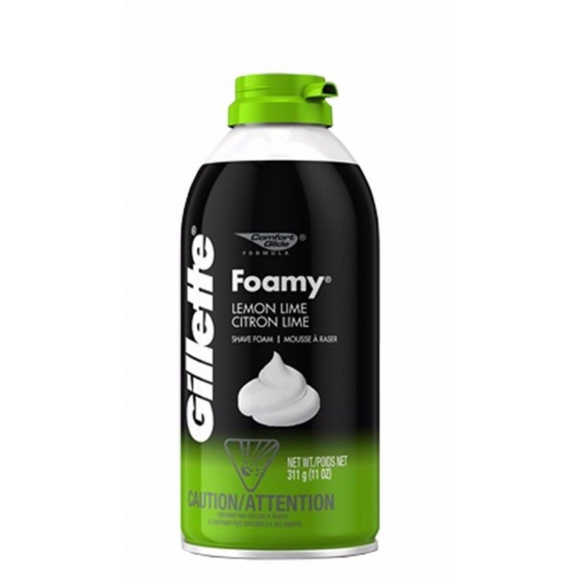 Kem bọt cạo râu Gillette Foamy Lemon Lime Citron 311g (Xanh) tốt nhất