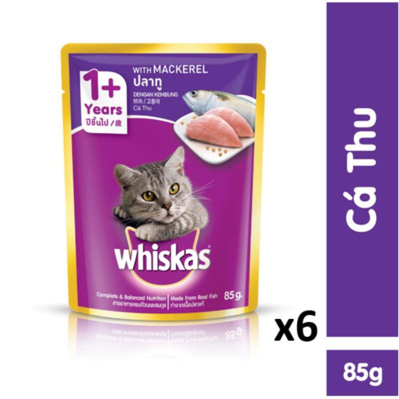 Bộ 6 túi thức ăn cho mèo Whiskas vị cá thu 85g