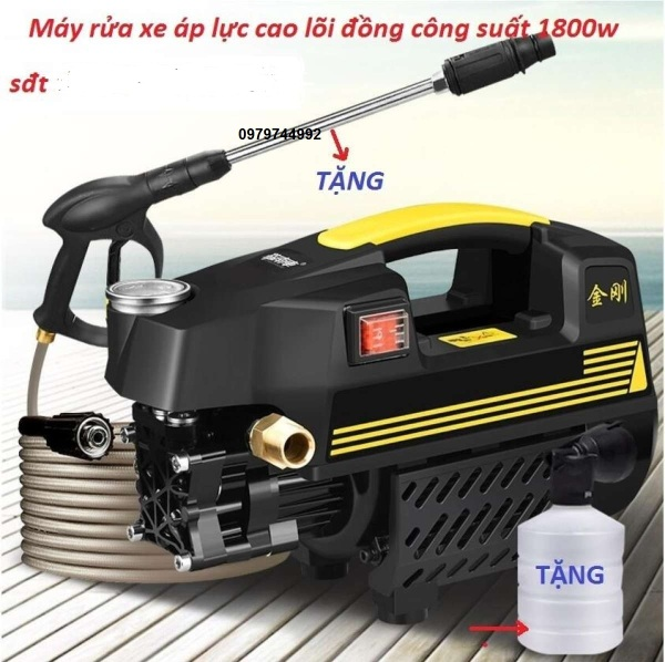 Máy rửa xe mini .Máy bơm xịt rửa xe áp lực cao T 10, báng súg phun dài nửa mét, đầu phun, bình chứa xà phòng