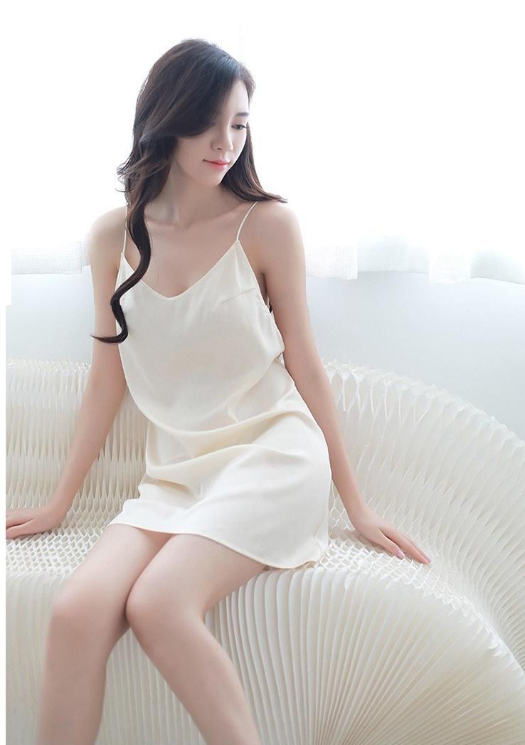 Váy ngủ phi lụa 2 dây hở lưng - VL1600 - Màu trắng