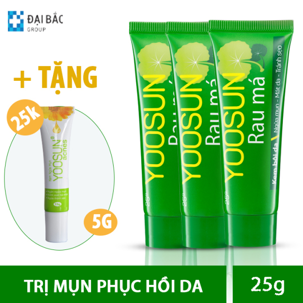 [MUA 3 TẶNG 1] Combo 3 tuýp kem ngăn ngừa mụn, mát da, liền sẹo YOOSUN RAU MÁ 25g - Tặng 1 tuýp kem yoosun acnes 5G giá 25k