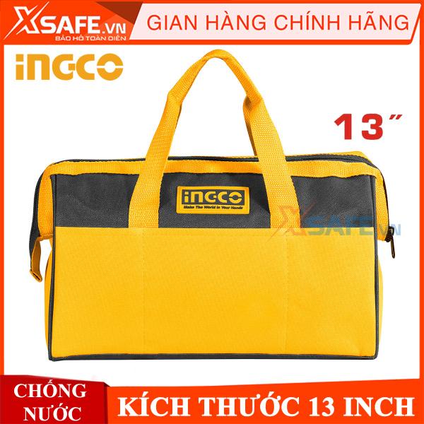 Túi đồ nghề dụng cụ INGCO 13 inch có miệng rộng Chống thấm nước Túi đựng dụng cụ đa năng cho ngành kỹ thuật xây dựng nghề mộc Làm vườn Thợ điện tại nhà HTBG28131 - CHÍNH HÃNG [XSAFE] [XTOOLs]