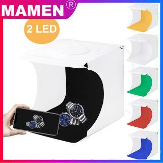 MAMEN Hộp Đèn Khuếch Tán Studio Gấp Gọn Mini Chụp Ảnh Photostudio 20Cm Có Đèn LED Hộp Mềm Cho Studio Chụp Ảnh Nền Trắng Đen Với 2 Tấm LED Gấp Di Động