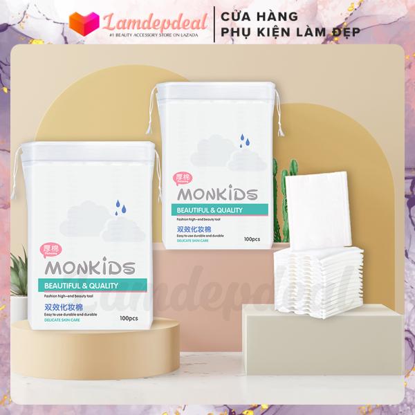 ♥ Lamdepdeal - Bông tẩy trang Monkids gói 100 miếng - 100% cotton không xơ bông, thấm hút dung dịch dễ dàng, thân thiện với làn da - Phụ kiện trang điểm nhập khẩu