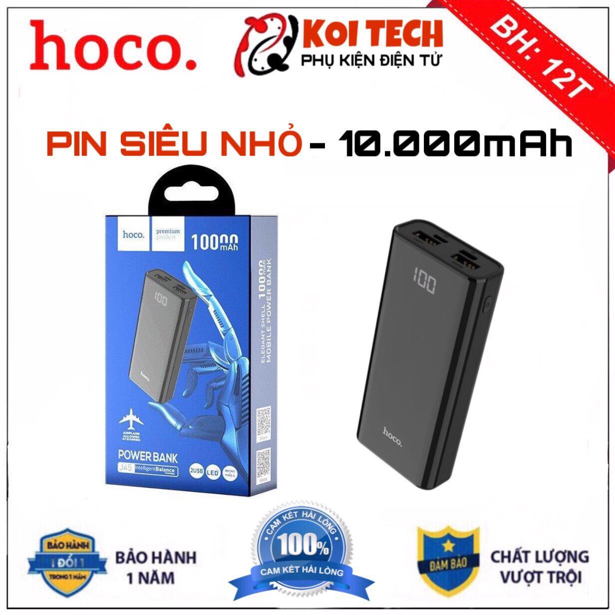 [SIÊU NHỎ] Pin Sạc Dự Phòng Hoco j45 10000mah Sạc nhanh 2A 2 cổng USB 2 đèn LED thích hợp dùng cho nhiều dòng máy
