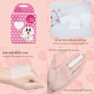 [Peachy Sis] Bông tẩy trang 100% cotton 3 lớp mềm mịn thấm hút cực tốt 50 miếng bịch thumbnail
