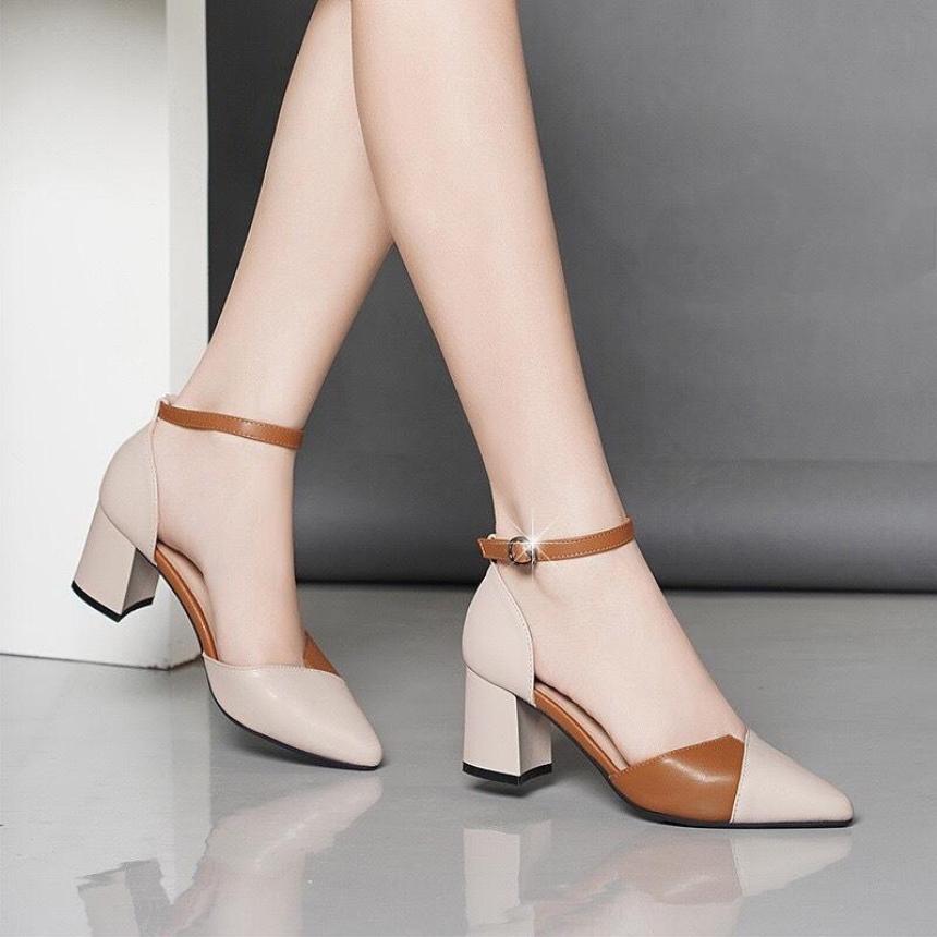 Giày cao gót vuông 7p xếp kem phối giá rẻ