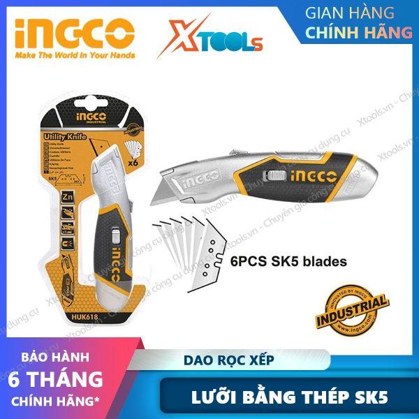 Dao rọc giấy INGCO HUK6118 Dao rọc xếp chất liệu lưỡi bằng thép SK5, kèm theo 5 lưỡi dao. Lưỡi dao sắc bén cắt, rọc xếp dễ dàng chịu nhiêt chịu lực chịu tác động mạnh [XTOOLs] [XSAFE]
