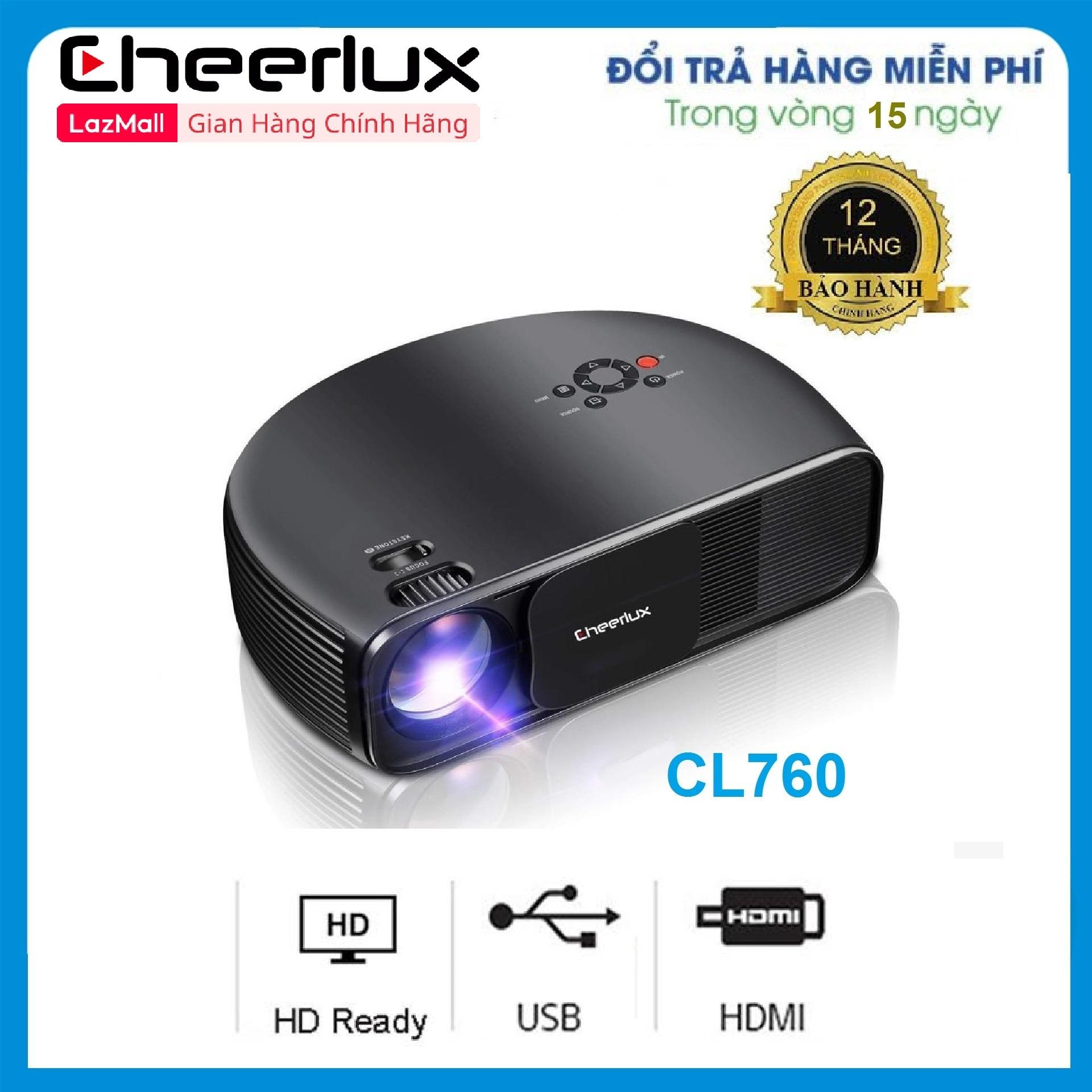 Máy Chiếu Cheerlux Cl760 Projector 1280x800, Hỗ Trợ Full HD 1080p, Công Suất Bóng Led 150W, 3600 Lumens Sáng Rõ, Chức Năng Zoom In Out. Giá Cực Cool