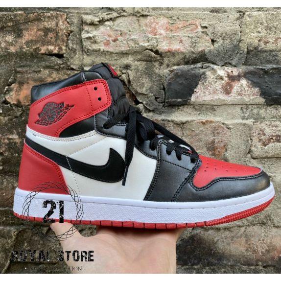 Giày thể thao AIR JORDAN 1 Retro High Bred Toe màu đỏ trắng cao cổ giá rẻ