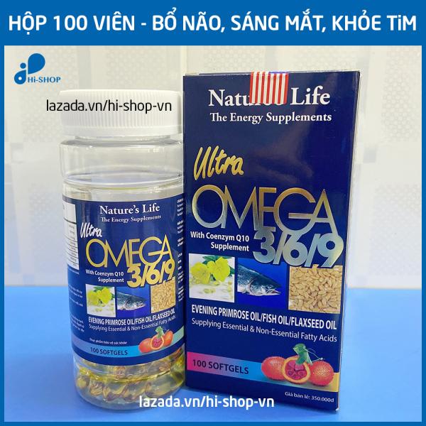 Viên dầu cá Omega 3 6 9 Nature Life Bổ não, sáng mắt, khỏe mạnh tim mạch, tăng cường trí nhớ - Hộp 100 viên thành phần dầu gấc, dầu cá 1000mg, EPA 180mg, DHA 120mg giá rẻ