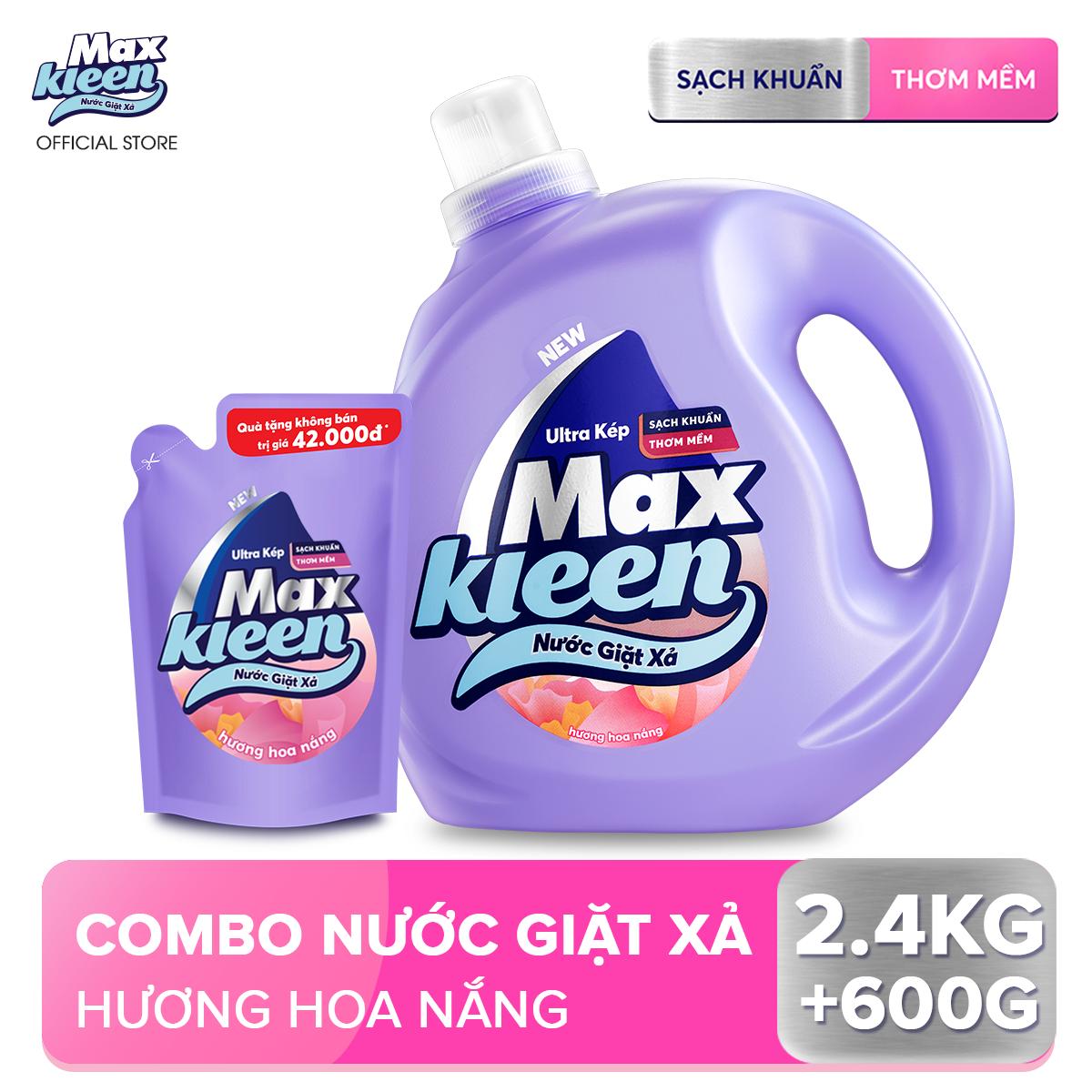 Combo Nước giặt xả Maxkleen hương hoa nắng: 1 Chai 2.4kg + 1 Túi 600g