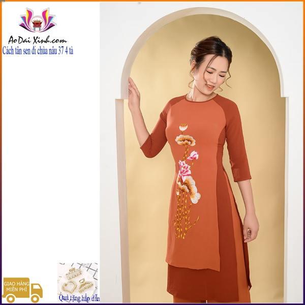 Bộ áo dài cách tân đi chùa thêu hoa sen 003