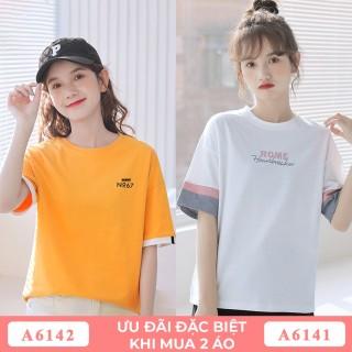 COMBO Áo phông nữ GINDY áo thun cổ tròn in chữ áo phông cotton đẹp tay lỡ form rộng unisex thời trang Hàn Quốc thumbnail