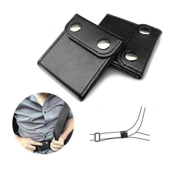 Auto Seat Belt Regulator Anti-Le Neck Fixer Adjuster Equipment Car Seat Belt Locator-2 Pcs Black