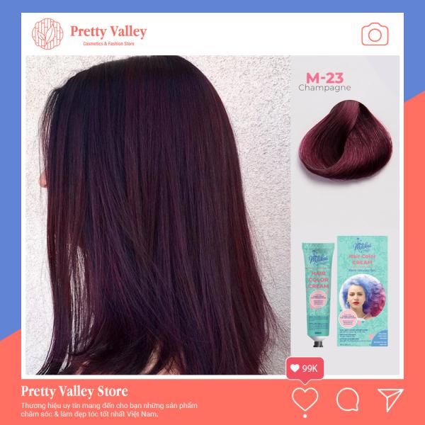 Kem nhuộm tóc cao cấp màu tím trầm Molokai 60ml [ TẶNG KÈM GĂNG TAY + CHAI OXY TRỢ DƯỠNG TÓC ]