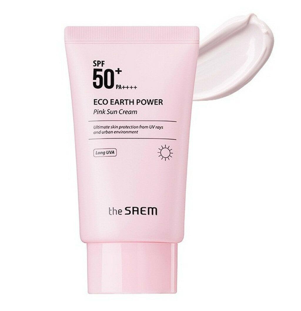 Kem Chống Nắng Giảm Dầu, Giúp Da Sáng Hồng Tự Nhiên The Saem Eco Earth Power Pink Sun Cream SPF50+ PA++++ 50g chính hãng