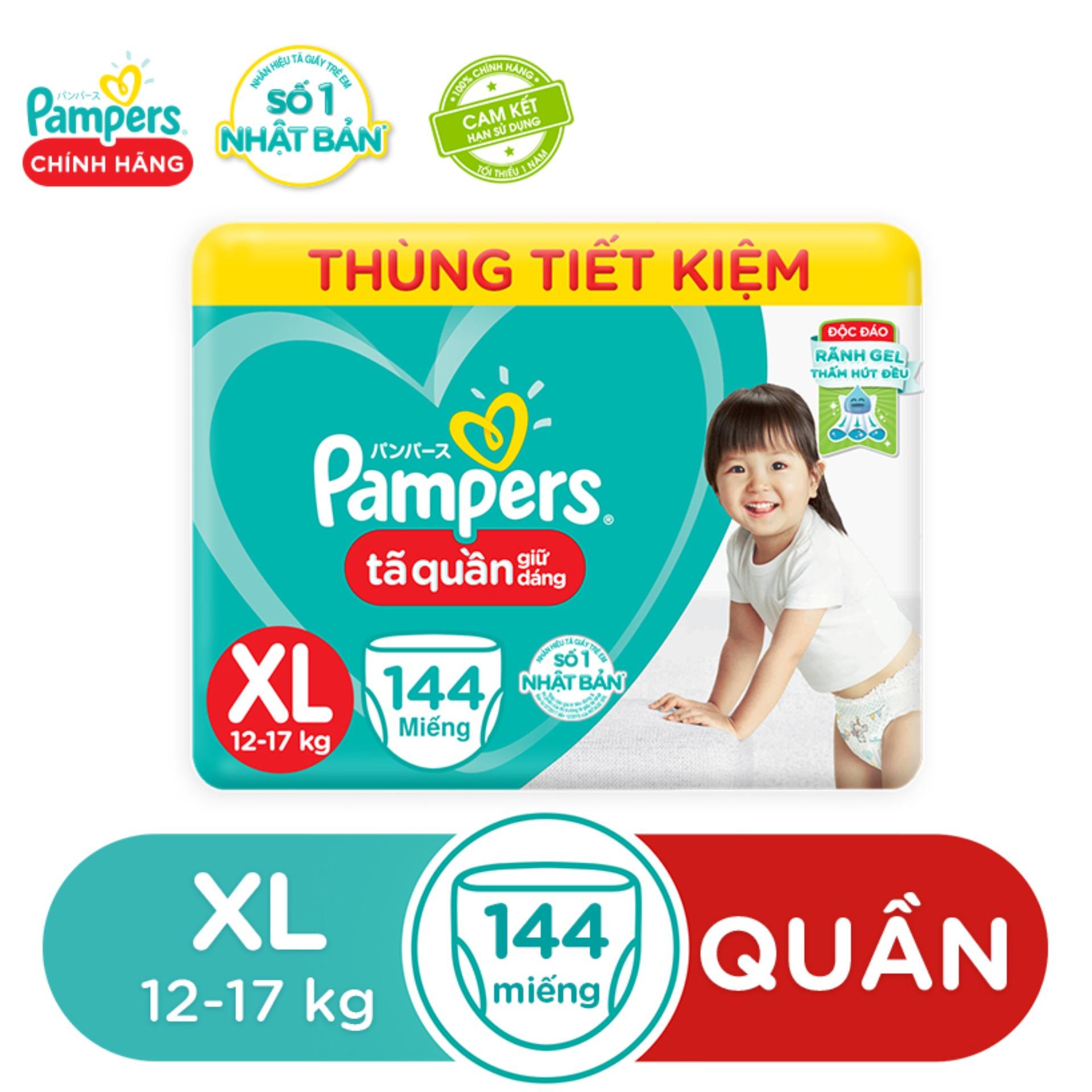 Tã Quần Giữ Dáng Pampers - Thùng Mega Tiết Kiệm Hàng Tháng - Size XL 48x3 - Cho Bé Từ 12-16kg Bất Ngờ Ưu Đãi Giá