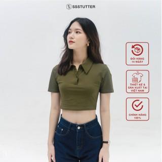 Áo polo croptop ngắn tay nữ SSSTUTTER chất cotton thoáng mát POLO TEE thumbnail