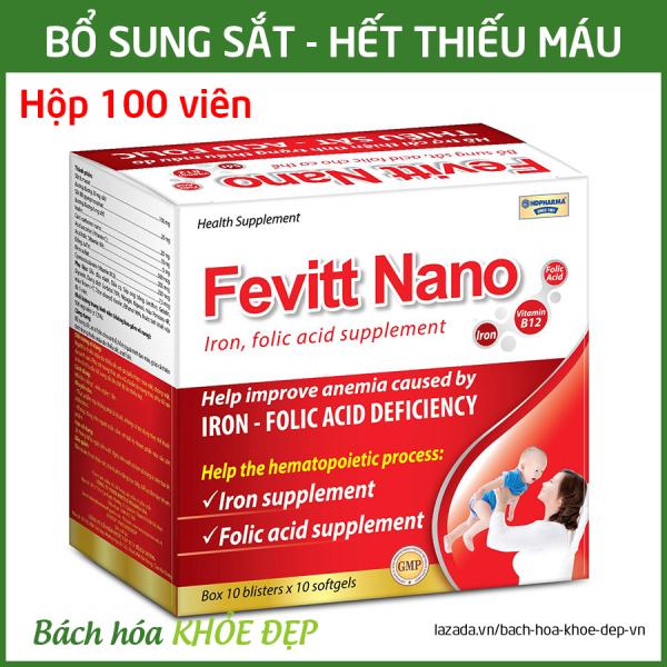 Viên uống Fevitt Nano bổ sung Sắt, Acid Folic cho người thiếu máu não, phụ nữ mang thai và sau sinh - Hộp 100 viên dùng 100 ngày cao cấp
