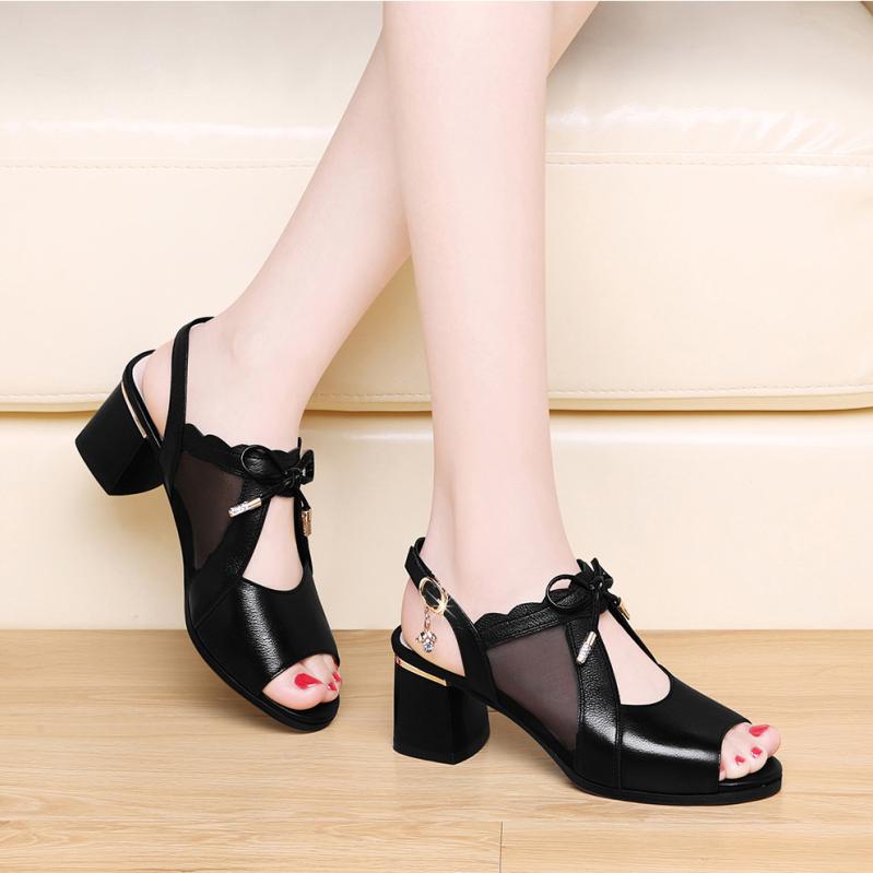 Giày gót vuông 5p phối nơ lưới xinh xắn giá rẻ