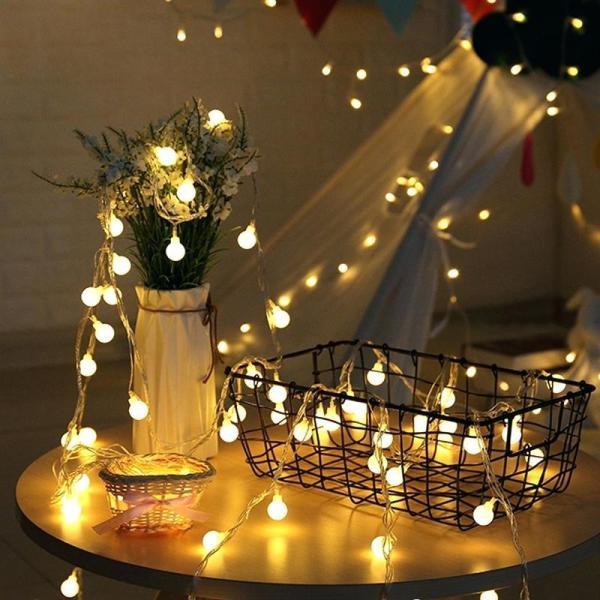 Tặng 3 pin dây đèn trang trí cherry ball dài 6 mét 40 bóng ánh sáng vàng nắng
