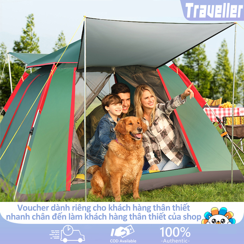 Lều cắm trại lều dã ngoại tự động cho 3-4 người hai lớp vải chống tia UV chống thấm lều picnic gia đình  camry