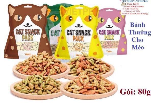 BÁNH THƯỞNG CHO MÈO Cat Snack Pack Yaho Viên hình cá Gói 80g
