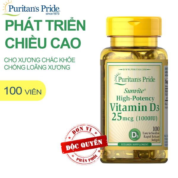 Vitamin D tăng hệ miễn dịch,chống còi xương, giúp hấp thu Canxi dùng được cho phụ nữ có thai Vitamin Mỹ Puritans Pride Sunvite High-Potency Vitamin D3 1000IU 100 viên cao cấp
