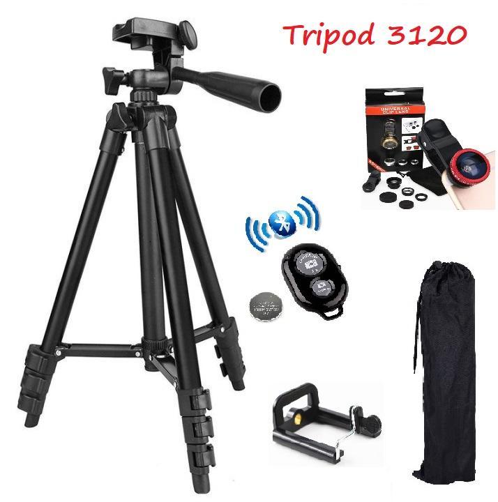 Chân đế Chụp Hình Tripod 3120 (Đen) + Tặng 1 Lens Camera 3 In 1 + 1 Remote Chụp Hình Bluetooth + 1 Gá Kẹp 001 Đang Có Giảm Giá