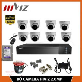 Bộ 8 Mắt Camera Giám Sát Hiviz ĐẦU GHI UPTO 5.0 Megapixcel (2k) + HDD (500GB 1TB) + CAMERA 2.0MP - Đủ phụ kiện tự lắp đặt - Chính hãng thumbnail