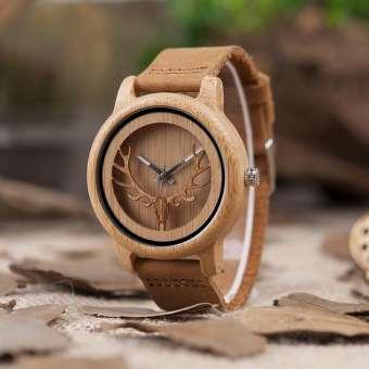 Đồng hồ đeo tay gỗ Nam - Chế tác vân Hưu - Handmade - Máy Quart Nhật Bản