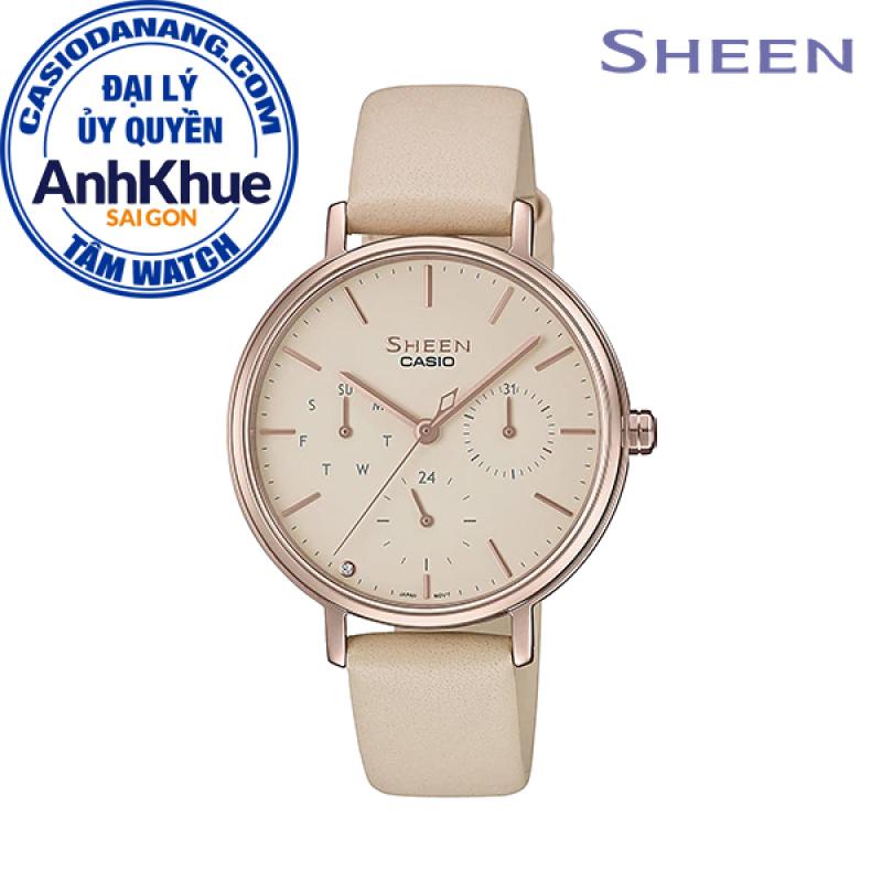 Đồng hồ nữ dây da Casio Sheen chính hãng Anh Khuê SHE-4541CGL-4AUDF (34mm)